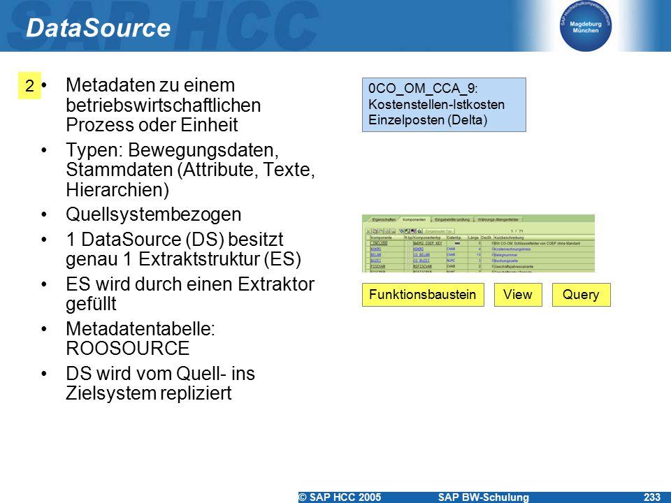© SAP HCC 2005SAP BW-Schulung233 DataSource Metadaten zu einem betriebswirtschaftlichen Prozess oder Einheit Typen: Bewegungsdaten, Stammdaten (Attribute, Texte, Hierarchien) Quellsystembezogen 1 DataSource (DS) besitzt genau 1 Extraktstruktur (ES) ES wird durch einen Extraktor gefüllt Metadatentabelle: ROOSOURCE DS wird vom Quell- ins Zielsystem repliziert 2 0CO_OM_CCA_9: Kostenstellen-Istkosten Einzelposten (Delta) FunktionsbausteinViewQuery