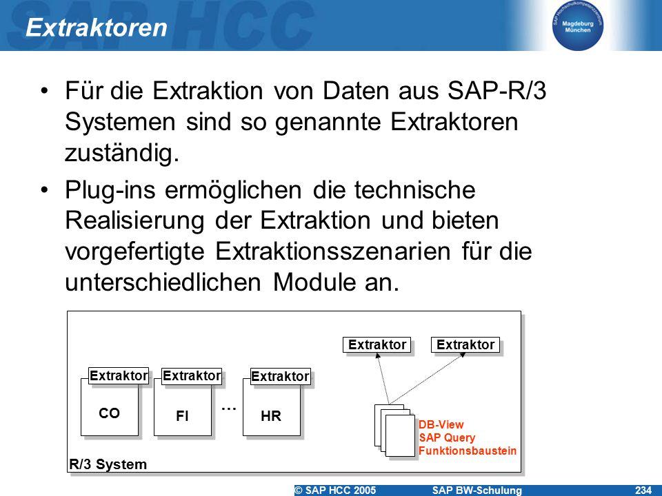 © SAP HCC 2005SAP BW-Schulung234 Extraktoren Für die Extraktion von Daten aus SAP-R/3 Systemen sind so genannte Extraktoren zuständig.