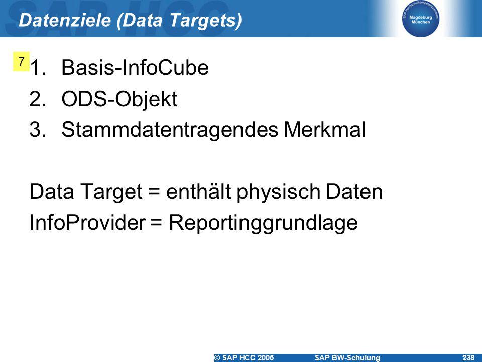 © SAP HCC 2005SAP BW-Schulung238 Datenziele (Data Targets) 1.Basis-InfoCube 2.ODS-Objekt 3.Stammdatentragendes Merkmal Data Target = enthält physisch