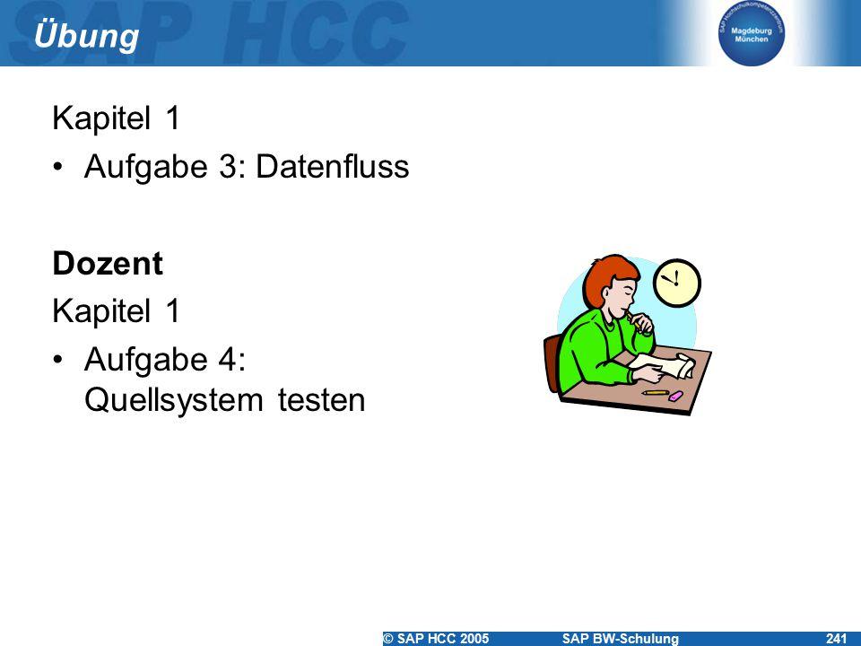 © SAP HCC 2005SAP BW-Schulung241 Übung Kapitel 1 Aufgabe 3: Datenfluss Dozent Kapitel 1 Aufgabe 4: Quellsystem testen