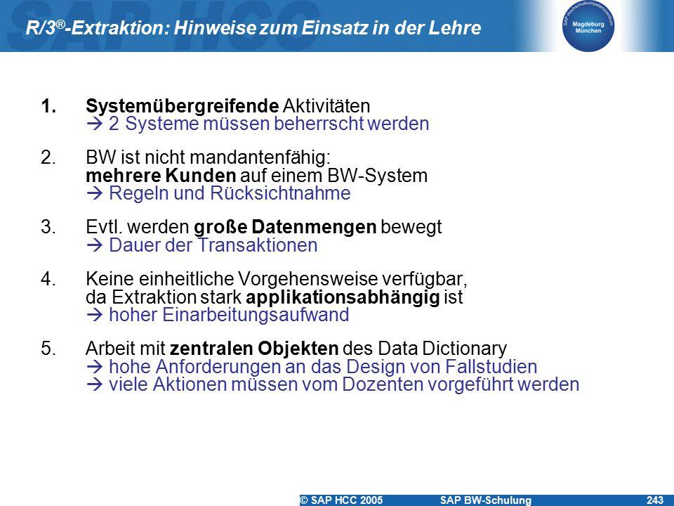 © SAP HCC 2005SAP BW-Schulung243 R/3 ® -Extraktion: Hinweise zum Einsatz in der Lehre 1.Systemübergreifende Aktivitäten  2 Systeme müssen beherrscht