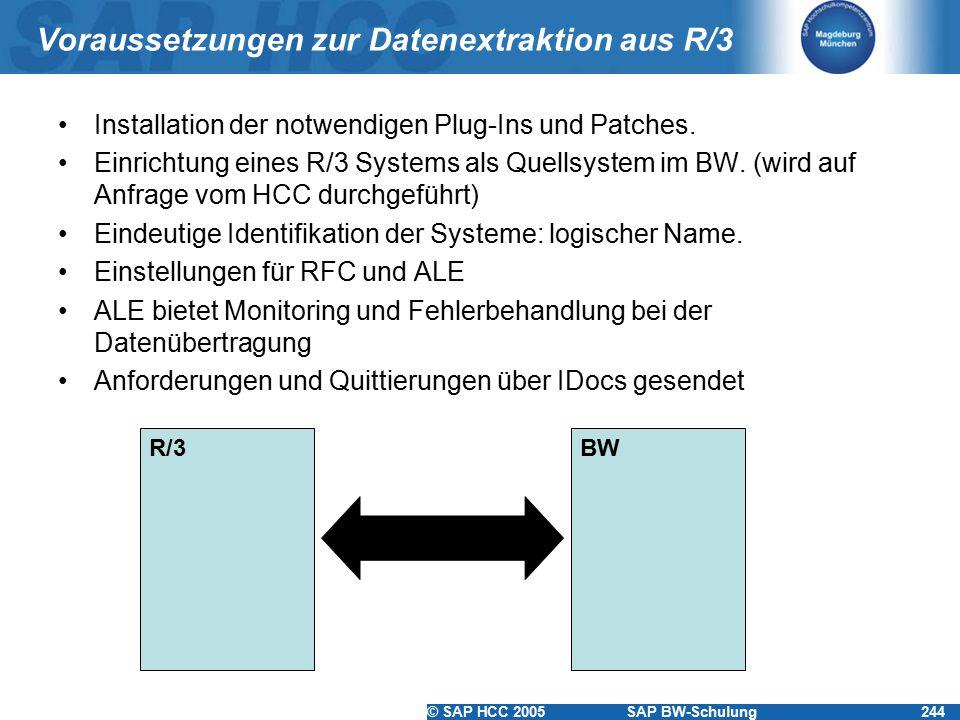 © SAP HCC 2005SAP BW-Schulung244 Voraussetzungen zur Datenextraktion aus R/3 Installation der notwendigen Plug-Ins und Patches. Einrichtung eines R/3