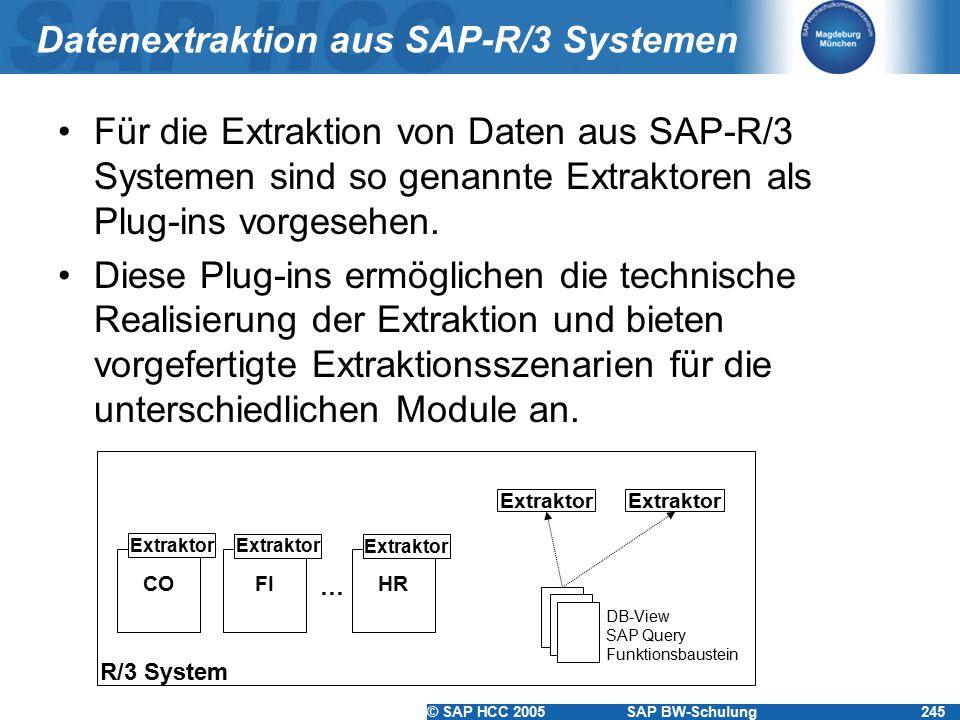 © SAP HCC 2005SAP BW-Schulung245 Datenextraktion aus SAP-R/3 Systemen Für die Extraktion von Daten aus SAP-R/3 Systemen sind so genannte Extraktoren als Plug-ins vorgesehen.
