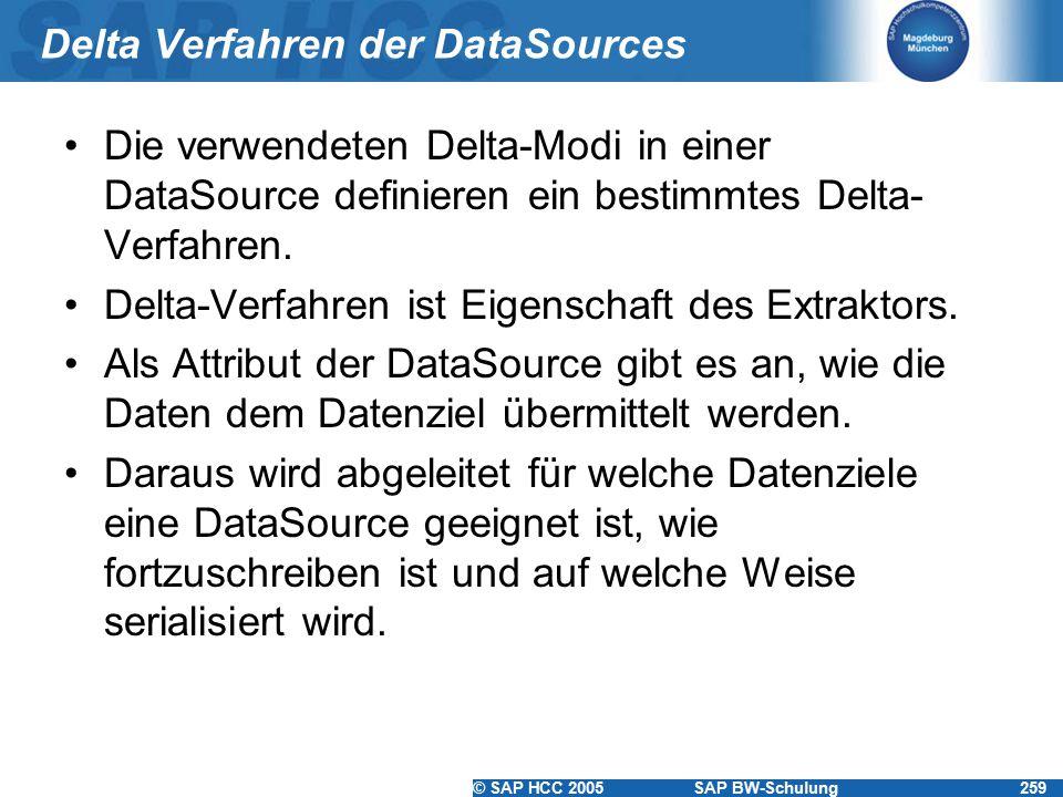 © SAP HCC 2005SAP BW-Schulung259 Delta Verfahren der DataSources Die verwendeten Delta-Modi in einer DataSource definieren ein bestimmtes Delta- Verfa