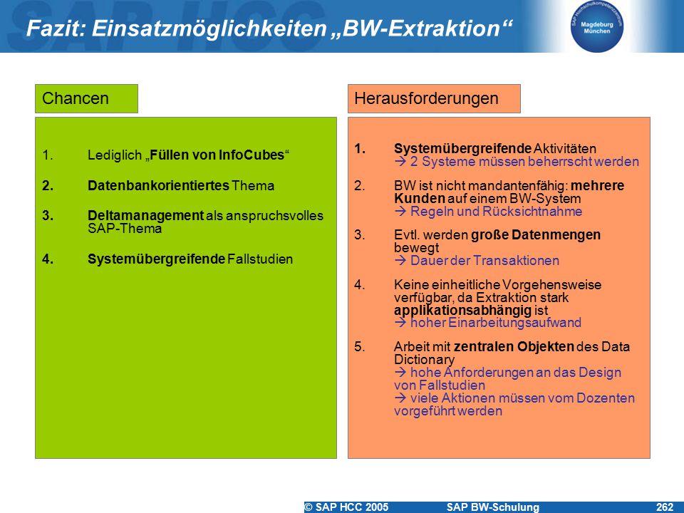 """© SAP HCC 2005SAP BW-Schulung262 Fazit: Einsatzmöglichkeiten """"BW-Extraktion 1.Lediglich """"Füllen von InfoCubes 2.Datenbankorientiertes Thema 3.Deltamanagement als anspruchsvolles SAP-Thema 4.Systemübergreifende Fallstudien 1.Systemübergreifende Aktivitäten  2 Systeme müssen beherrscht werden 2.BW ist nicht mandantenfähig: mehrere Kunden auf einem BW-System  Regeln und Rücksichtnahme 3.Evtl."""