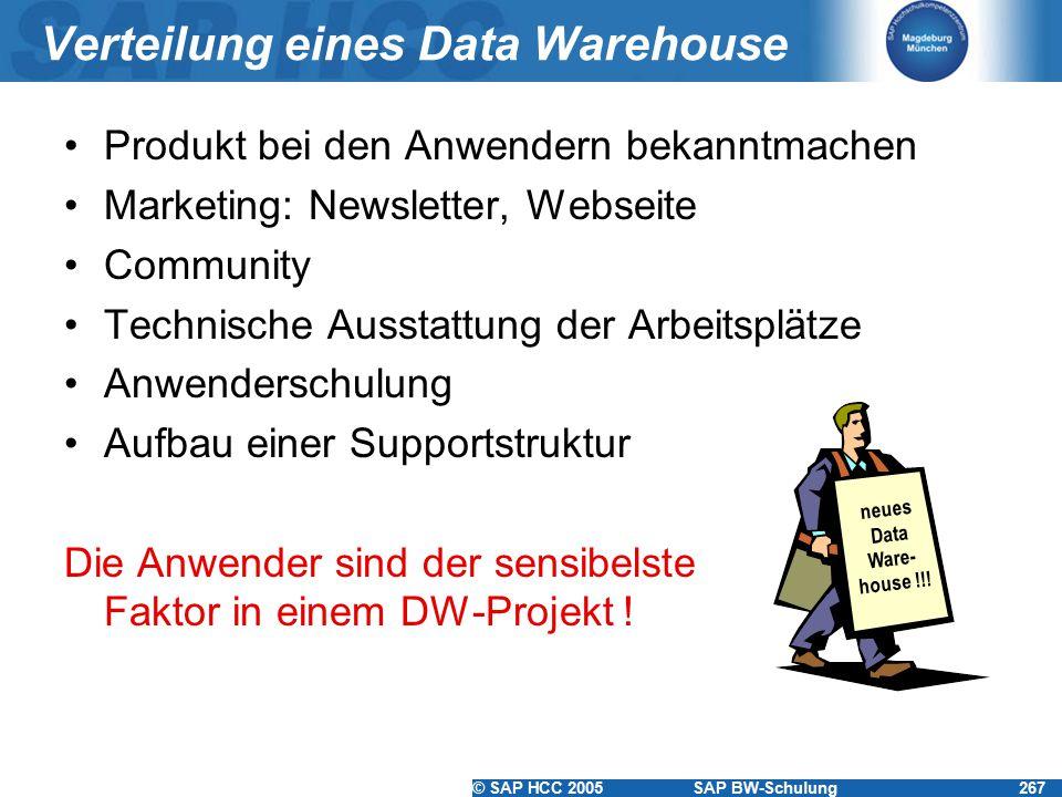 © SAP HCC 2005SAP BW-Schulung267 Verteilung eines Data Warehouse Produkt bei den Anwendern bekanntmachen Marketing: Newsletter, Webseite Community Technische Ausstattung der Arbeitsplätze Anwenderschulung Aufbau einer Supportstruktur Die Anwender sind der sensibelste Faktor in einem DW-Projekt .