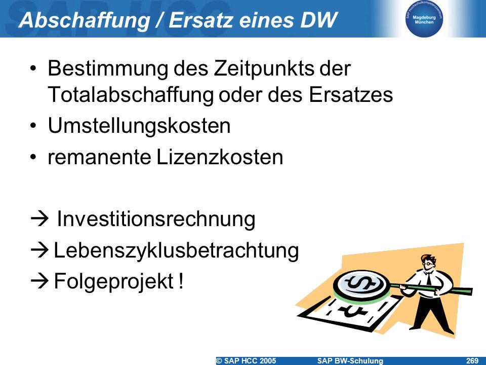 © SAP HCC 2005SAP BW-Schulung269 Abschaffung / Ersatz eines DW Bestimmung des Zeitpunkts der Totalabschaffung oder des Ersatzes Umstellungskosten rema