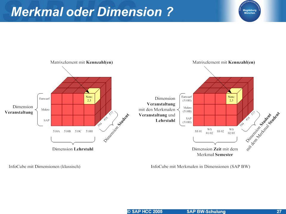 © SAP HCC 2005SAP BW-Schulung27 Merkmal oder Dimension ?