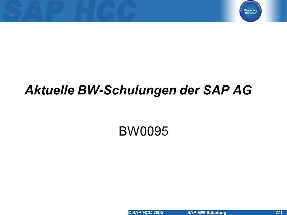 © SAP HCC 2005SAP BW-Schulung271 Aktuelle BW-Schulungen der SAP AG BW0095