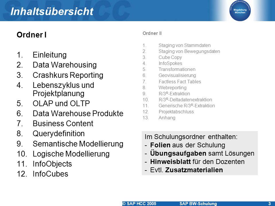 © SAP HCC 2005SAP BW-Schulung3 Inhaltsübersicht Ordner I 1.Einleitung 2.Data Warehousing 3.Crashkurs Reporting 4.Lebenszyklus und Projektplanung 5.OLAP und OLTP 6.Data Warehouse Produkte 7.Business Content 8.Querydefinition 9.Semantische Modellierung 10.Logische Modellierung 11.InfoObjects 12.InfoCubes Ordner II 1.Staging von Stammdaten 2.Staging von Bewegungsdaten 3.Cube Copy 4.InfoSpokes 5.Transformationen 6.Geovisualisierung 7.Factless Fact Tables 8.Webreporting 9.R/3 ® -Extraktion 10.R/3 ® -Deltadatenextraktion 11.Generische R/3 ® -Extraktion 12.Projektabschluss 13.Anhang Im Schulungsordner enthalten: -Folien aus der Schulung -Übungsaufgaben samt Lösungen -Hinweisblatt für den Dozenten -Evtl.