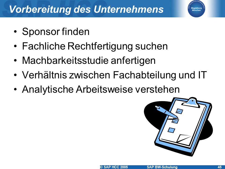 © SAP HCC 2005SAP BW-Schulung45 Vorbereitung des Unternehmens Sponsor finden Fachliche Rechtfertigung suchen Machbarkeitsstudie anfertigen Verhältnis