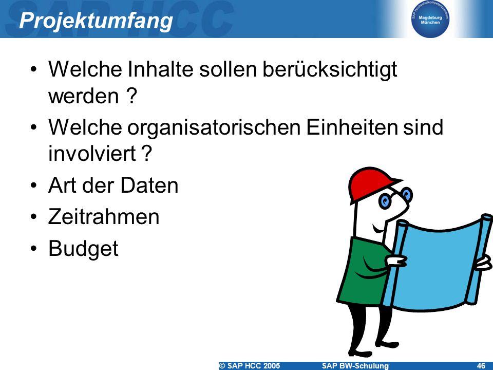 © SAP HCC 2005SAP BW-Schulung46 Projektumfang Welche Inhalte sollen berücksichtigt werden ? Welche organisatorischen Einheiten sind involviert ? Art d