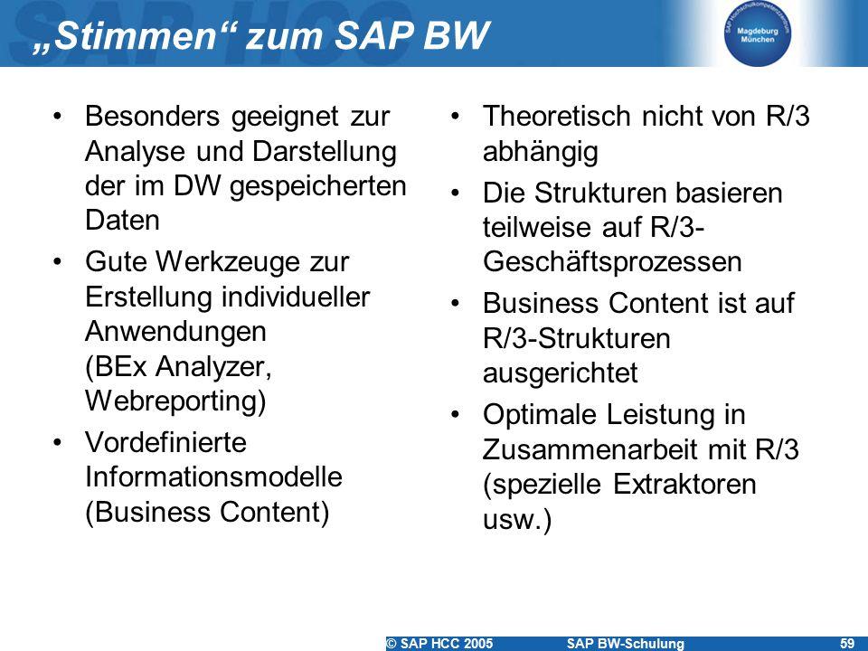 """© SAP HCC 2005SAP BW-Schulung59 """"Stimmen zum SAP BW Besonders geeignet zur Analyse und Darstellung der im DW gespeicherten Daten Gute Werkzeuge zur Erstellung individueller Anwendungen (BEx Analyzer, Webreporting) Vordefinierte Informationsmodelle (Business Content) Theoretisch nicht von R/3 abhängig Die Strukturen basieren teilweise auf R/3- Geschäftsprozessen Business Content ist auf R/3-Strukturen ausgerichtet Optimale Leistung in Zusammenarbeit mit R/3 (spezielle Extraktoren usw.)"""