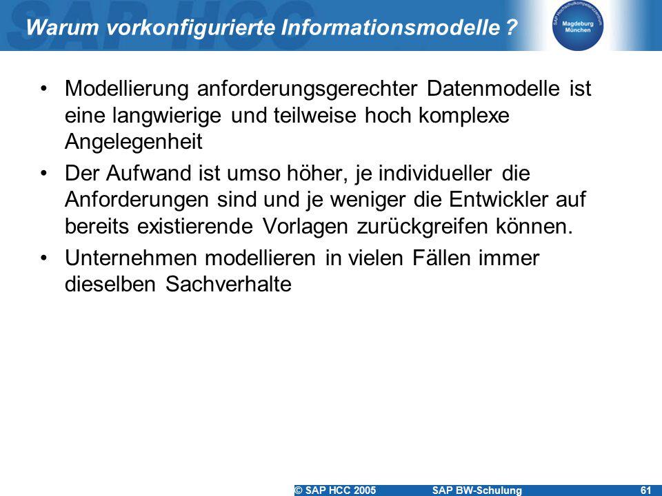 © SAP HCC 2005SAP BW-Schulung61 Warum vorkonfigurierte Informationsmodelle ? Modellierung anforderungsgerechter Datenmodelle ist eine langwierige und