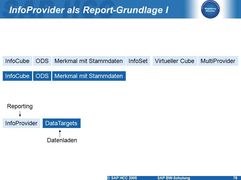 © SAP HCC 2005SAP BW-Schulung78 InfoProvider als Report-Grundlage I InfoCubeODSMerkmal mit StammdatenInfoSetVirtueller CubeMultiProvider InfoCubeODSMe