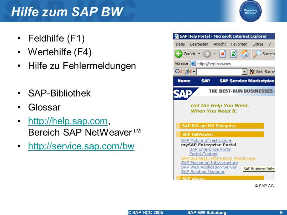 © SAP HCC 2005SAP BW-Schulung9 Hilfe zum SAP BW Feldhilfe (F1) Wertehilfe (F4) Hilfe zu Fehlermeldungen SAP-Bibliothek Glossar http://help.sap.com, Be