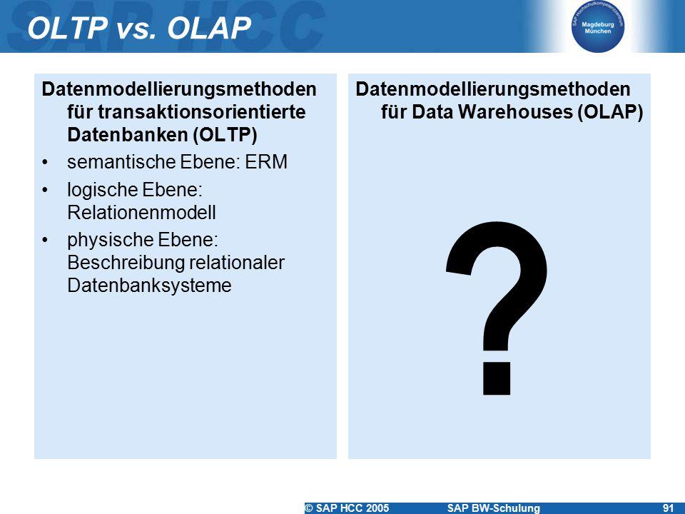 © SAP HCC 2005SAP BW-Schulung91 OLTP vs. OLAP Datenmodellierungsmethoden für transaktionsorientierte Datenbanken (OLTP) semantische Ebene: ERM logisch