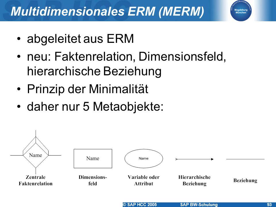 © SAP HCC 2005SAP BW-Schulung93 Multidimensionales ERM (MERM) abgeleitet aus ERM neu: Faktenrelation, Dimensionsfeld, hierarchische Beziehung Prinzip der Minimalität daher nur 5 Metaobjekte: