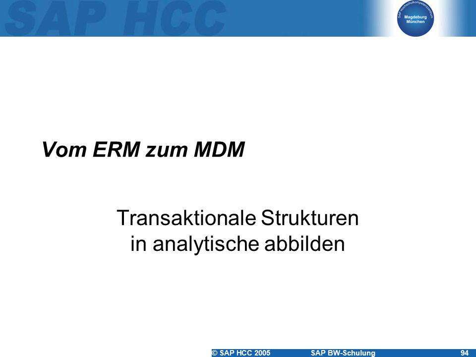 © SAP HCC 2005SAP BW-Schulung94 Vom ERM zum MDM Transaktionale Strukturen in analytische abbilden