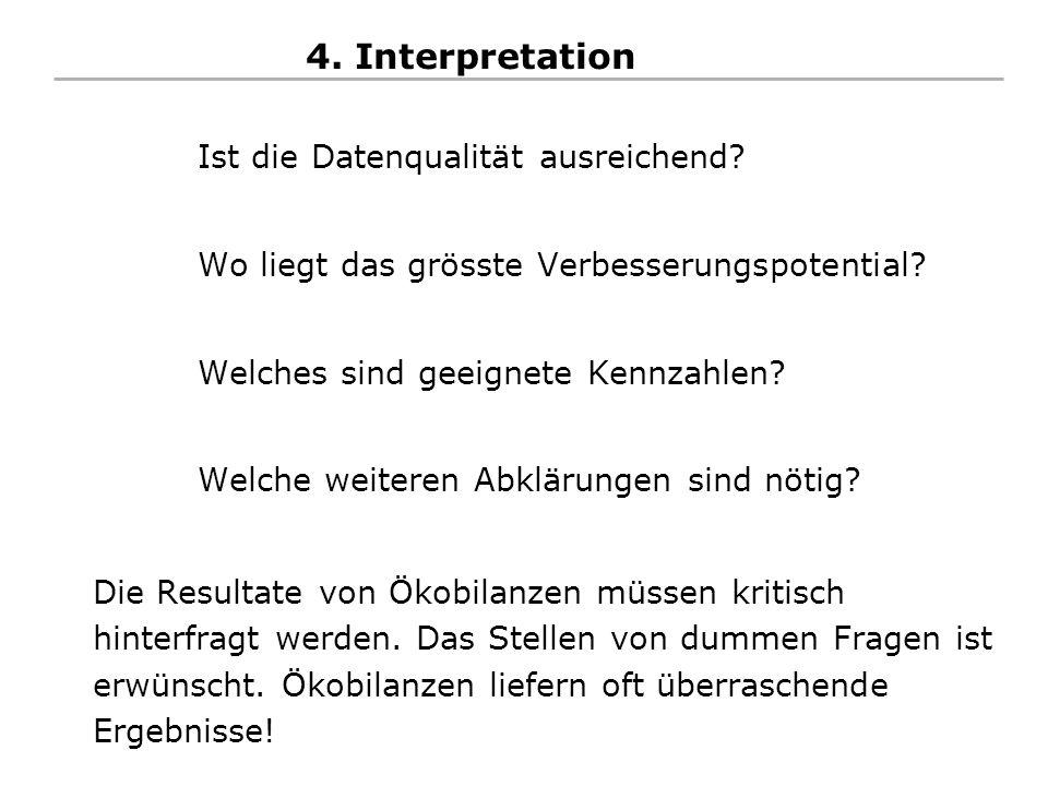 4. Interpretation Ist die Datenqualität ausreichend? Wo liegt das grösste Verbesserungspotential? Welches sind geeignete Kennzahlen? Welche weiteren A