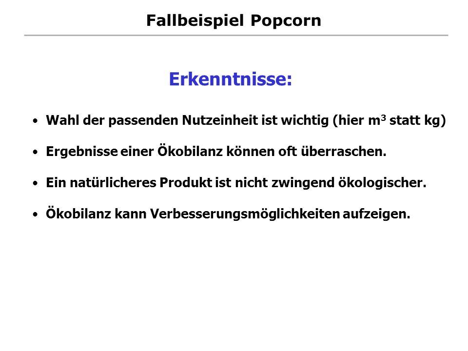 Fallbeispiel Popcorn Wahl der passenden Nutzeinheit ist wichtig (hier m 3 statt kg) Ergebnisse einer Ökobilanz können oft überraschen. Ein natürlicher