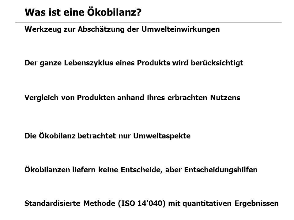 Ökobilanzen von Unternehmen Betriebsbilanz der Hotelplan AG Quelle: Umweltbericht Hotelplan 2002 …erlauben Vergleiche zwischen Unternehmen (Benchmarking).