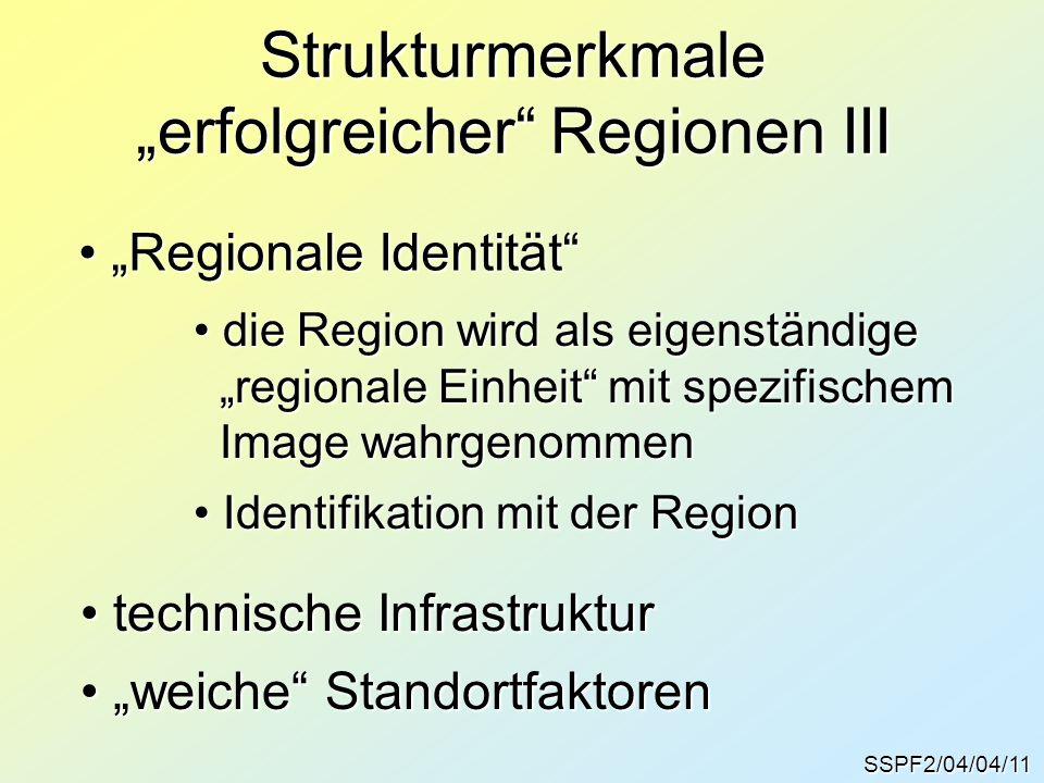 """SSPF2/04/04/11 Strukturmerkmale """"erfolgreicher Regionen III """"Regionale Identität """"Regionale Identität die Region wird als eigenständige die Region wird als eigenständige """"regionale Einheit mit spezifischem """"regionale Einheit mit spezifischem Image wahrgenommen Image wahrgenommen Identifikation mit der Region Identifikation mit der Region technische Infrastruktur technische Infrastruktur """"weiche Standortfaktoren """"weiche Standortfaktoren"""