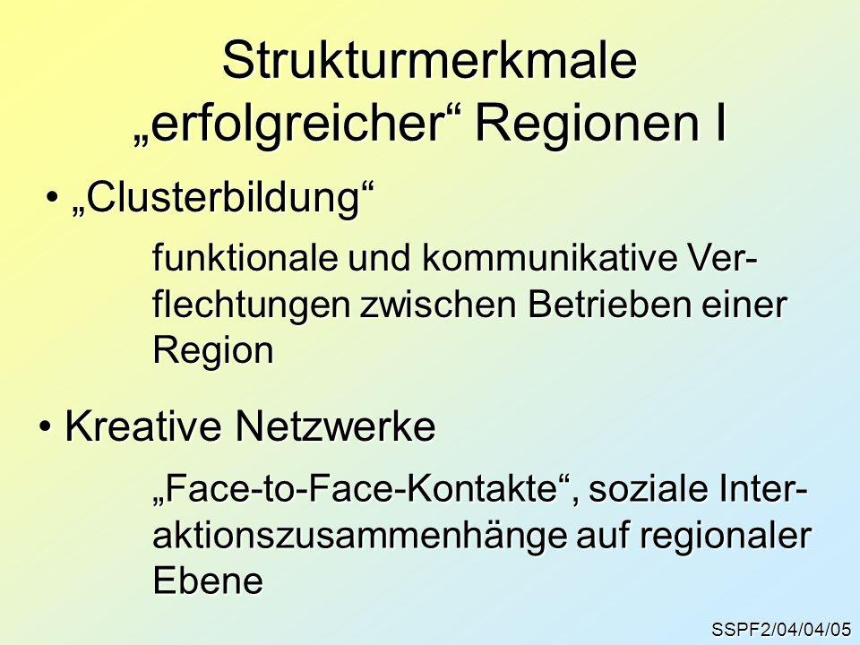 """SSPF2/04/04/05 Strukturmerkmale """"erfolgreicher Regionen I """"Clusterbildung """"Clusterbildung funktionale und kommunikative Ver- flechtungen zwischen Betrieben einer Region Kreative Netzwerke Kreative Netzwerke """"Face-to-Face-Kontakte , soziale Inter- aktionszusammenhänge auf regionaler Ebene"""