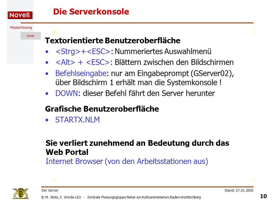 © M. Stütz, F. Wrede LEU - Zentrale Planungsgruppe Netze am Kultusministerium Baden-Württemberg Musterlösung zwei Stand: 27.01.2003 9 Der Server Zugri