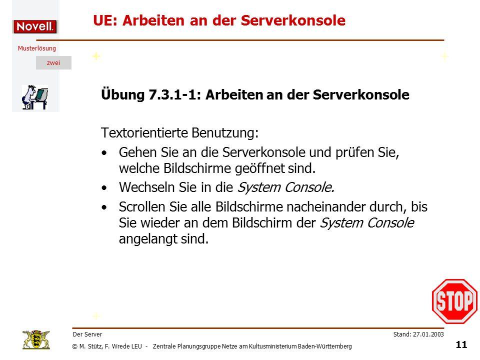 © M. Stütz, F. Wrede LEU - Zentrale Planungsgruppe Netze am Kultusministerium Baden-Württemberg Musterlösung zwei Stand: 27.01.2003 10 Der Server Die