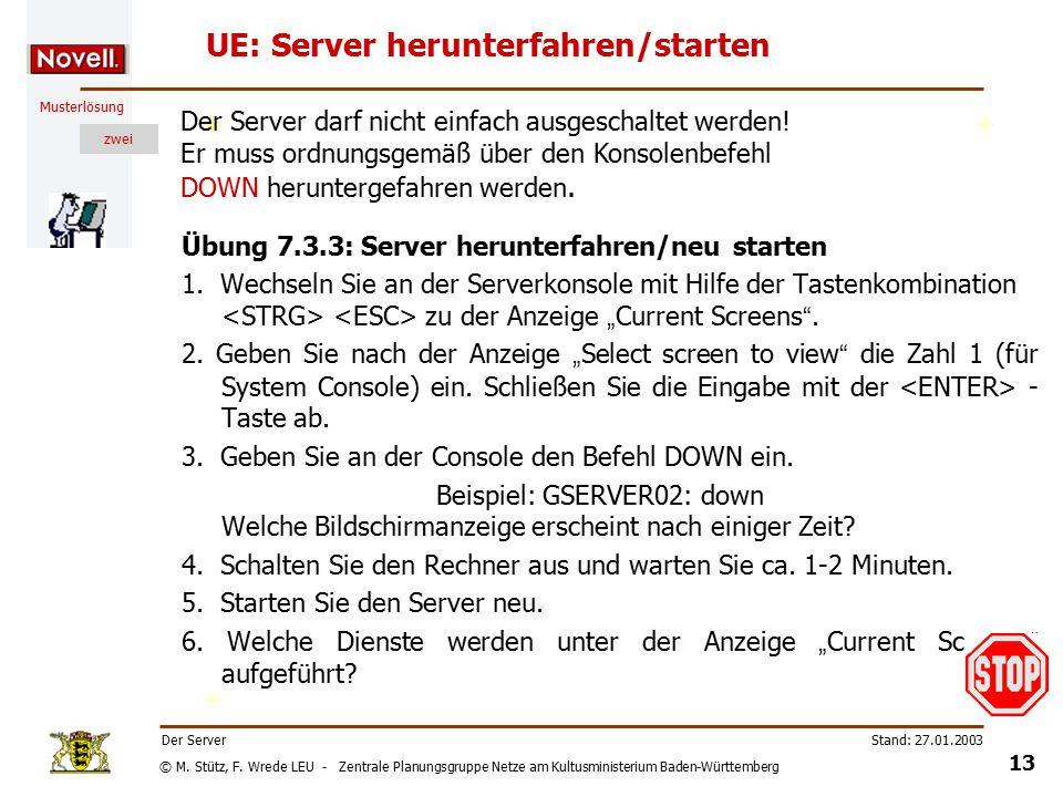 © M. Stütz, F. Wrede LEU - Zentrale Planungsgruppe Netze am Kultusministerium Baden-Württemberg Musterlösung zwei Stand: 27.01.2003 12 Der Server UE: