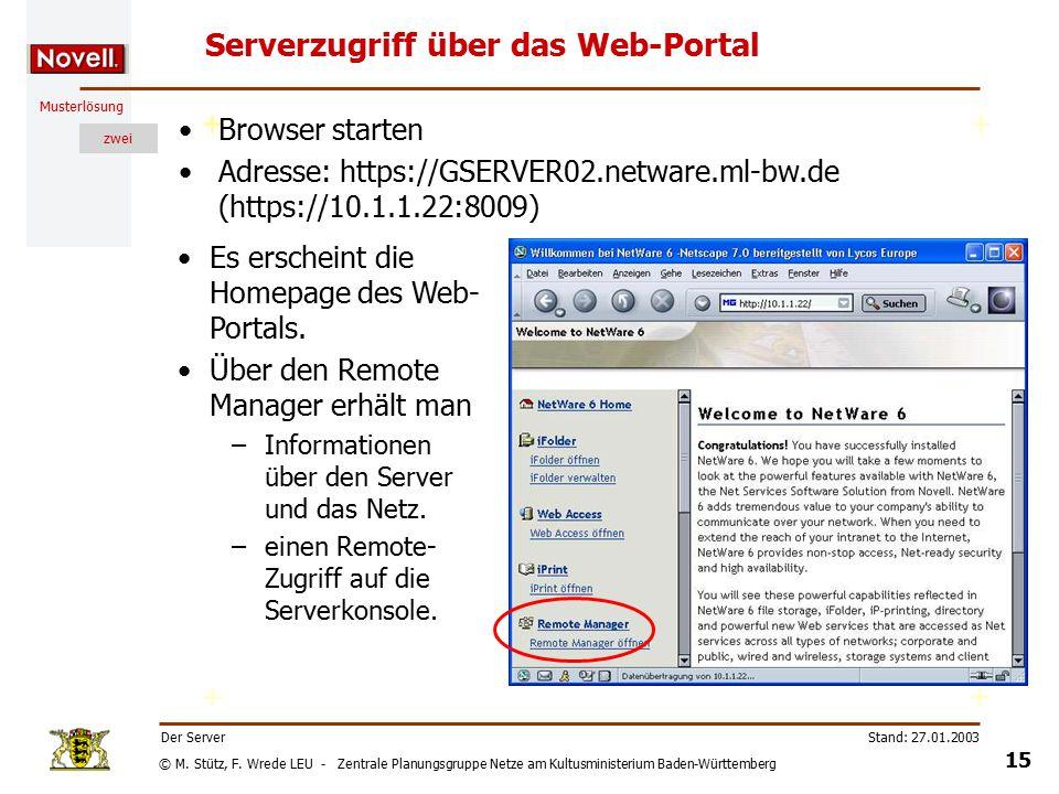 © M. Stütz, F. Wrede LEU - Zentrale Planungsgruppe Netze am Kultusministerium Baden-Württemberg Musterlösung zwei Stand: 27.01.2003 14 Der Server Serv