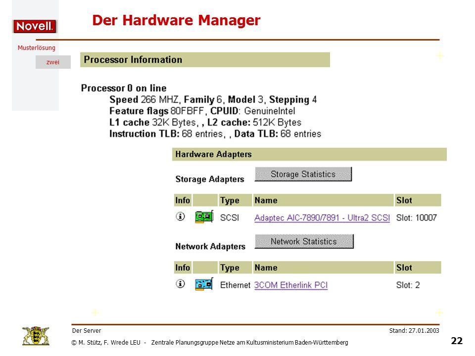 © M. Stütz, F. Wrede LEU - Zentrale Planungsgruppe Netze am Kultusministerium Baden-Württemberg Musterlösung zwei Stand: 27.01.2003 21 Der Server Übun