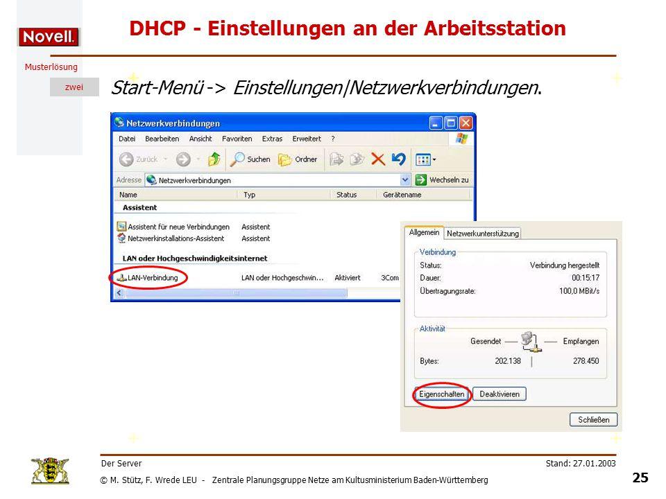 © M. Stütz, F. Wrede LEU - Zentrale Planungsgruppe Netze am Kultusministerium Baden-Württemberg Musterlösung zwei Stand: 27.01.2003 24 Der Server DHCP