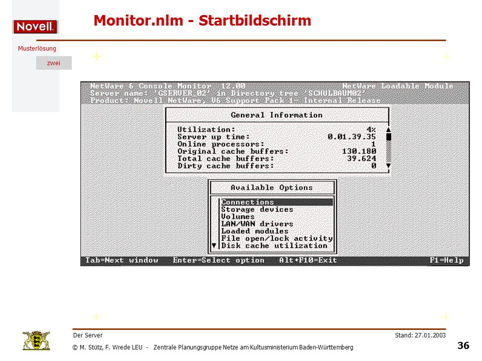© M. Stütz, F. Wrede LEU - Zentrale Planungsgruppe Netze am Kultusministerium Baden-Württemberg Musterlösung zwei Stand: 27.01.2003 35 Der Server Moni
