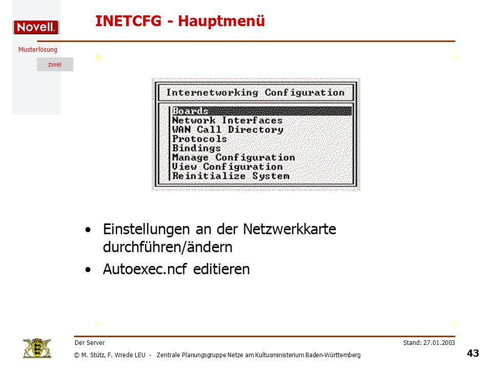 © M. Stütz, F. Wrede LEU - Zentrale Planungsgruppe Netze am Kultusministerium Baden-Württemberg Musterlösung zwei Stand: 27.01.2003 42 Der Server INET
