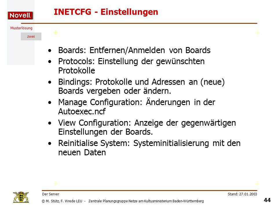 © M. Stütz, F. Wrede LEU - Zentrale Planungsgruppe Netze am Kultusministerium Baden-Württemberg Musterlösung zwei Stand: 27.01.2003 43 Der Server INET