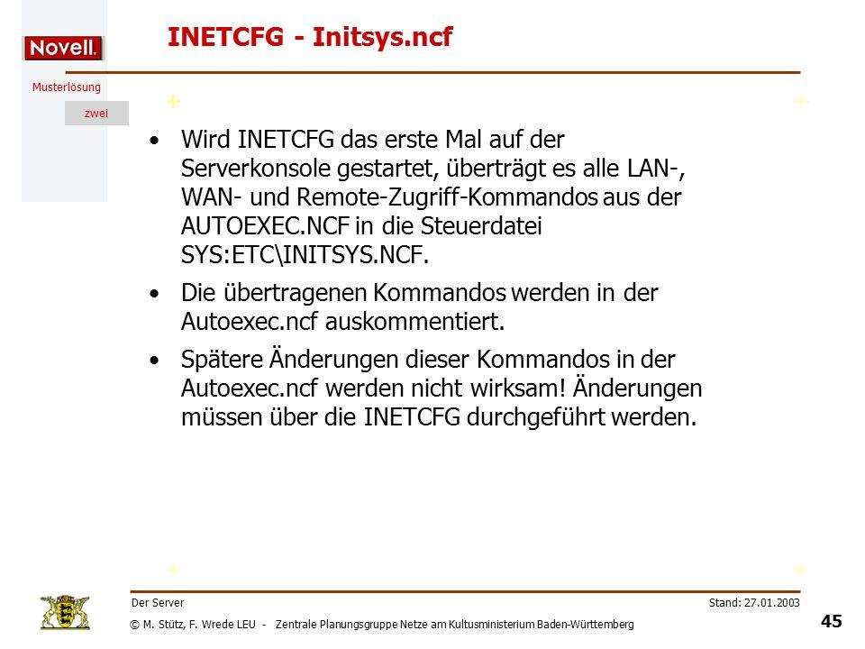 © M. Stütz, F. Wrede LEU - Zentrale Planungsgruppe Netze am Kultusministerium Baden-Württemberg Musterlösung zwei Stand: 27.01.2003 44 Der Server INET