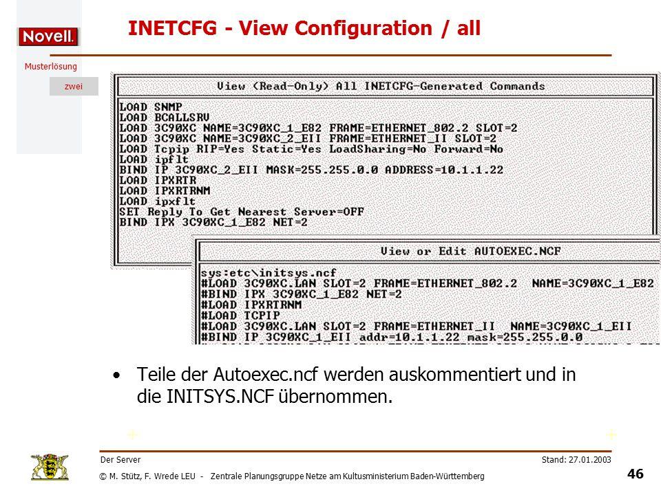 © M. Stütz, F. Wrede LEU - Zentrale Planungsgruppe Netze am Kultusministerium Baden-Württemberg Musterlösung zwei Stand: 27.01.2003 45 Der Server INET