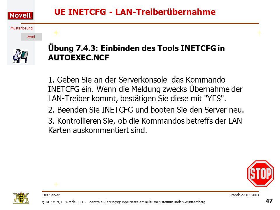 © M. Stütz, F. Wrede LEU - Zentrale Planungsgruppe Netze am Kultusministerium Baden-Württemberg Musterlösung zwei Stand: 27.01.2003 46 Der Server INET