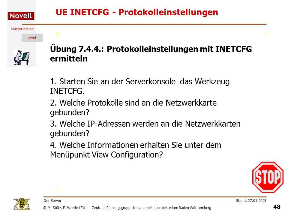 © M. Stütz, F. Wrede LEU - Zentrale Planungsgruppe Netze am Kultusministerium Baden-Württemberg Musterlösung zwei Stand: 27.01.2003 47 Der Server UE I
