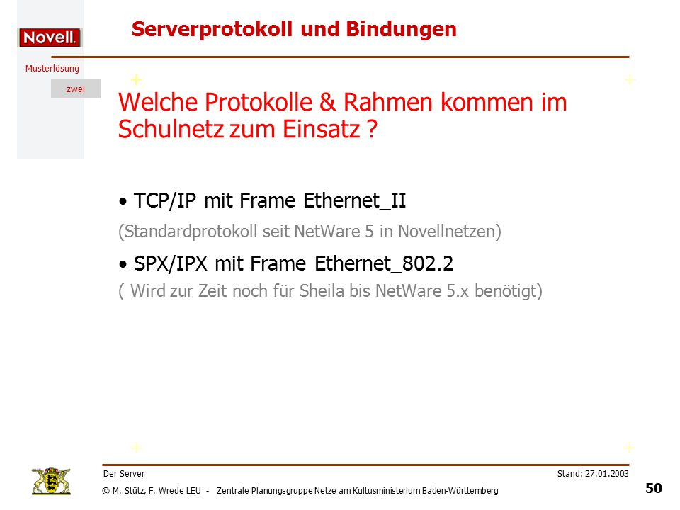 © M. Stütz, F. Wrede LEU - Zentrale Planungsgruppe Netze am Kultusministerium Baden-Württemberg Musterlösung zwei Stand: 27.01.2003 49 Der Server Serv