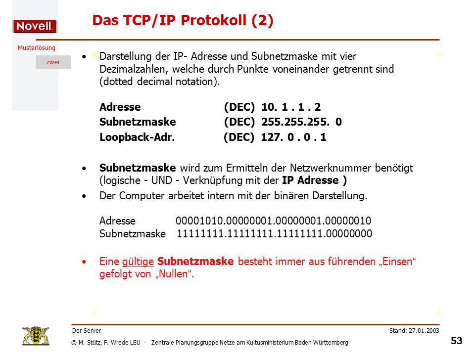 © M. Stütz, F. Wrede LEU - Zentrale Planungsgruppe Netze am Kultusministerium Baden-Württemberg Musterlösung zwei Stand: 27.01.2003 52 Der Server Das