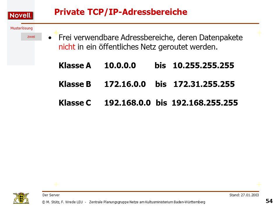 © M. Stütz, F. Wrede LEU - Zentrale Planungsgruppe Netze am Kultusministerium Baden-Württemberg Musterlösung zwei Stand: 27.01.2003 53 Der Server Das