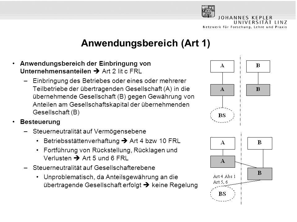 Anwendungsbereich (Art 1) Anwendungsbereich der Einbringung von Unternehmensanteilen  Art 2 lit c FRL –Einbringung des Betriebes oder eines oder mehr