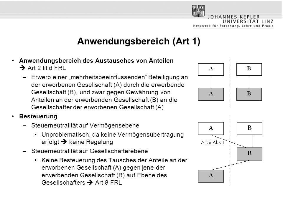 """Anwendungsbereich (Art 1) Anwendungsbereich des Austausches von Anteilen  Art 2 lit d FRL –Erwerb einer """"mehrheitsbeeinflussenden"""" Beteiligung an der"""