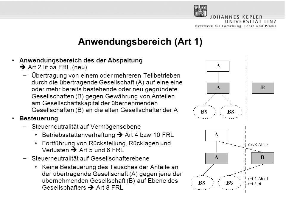 Anwendungsbereich (Art 1) Anwendungsbereich des der Abspaltung  Art 2 lit ba FRL (neu) –Übertragung von einem oder mehreren Teilbetrieben durch die ü
