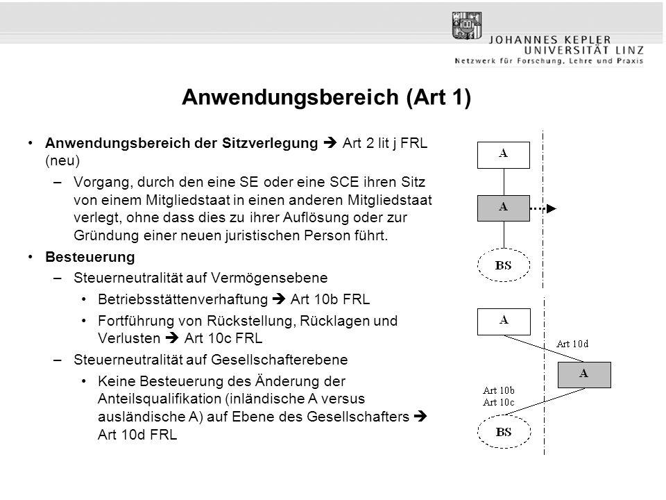 Anwendungsbereich (Art 1) Anwendungsbereich der Sitzverlegung  Art 2 lit j FRL (neu) –Vorgang, durch den eine SE oder eine SCE ihren Sitz von einem M