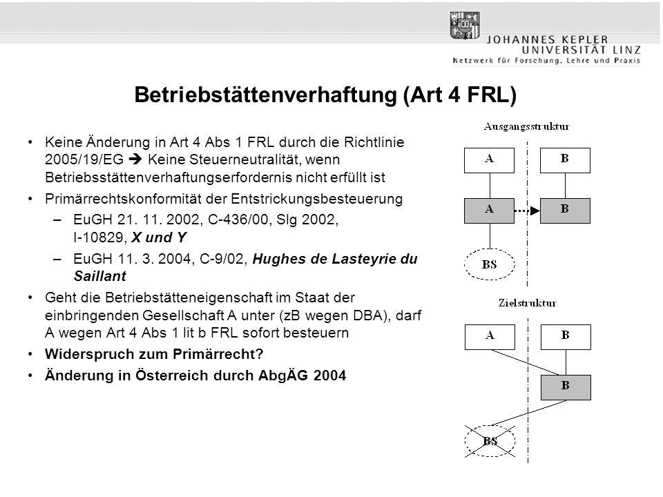 Betriebstättenverhaftung (Art 4 FRL) Keine Änderung in Art 4 Abs 1 FRL durch die Richtlinie 2005/19/EG  Keine Steuerneutralität, wenn Betriebsstätten
