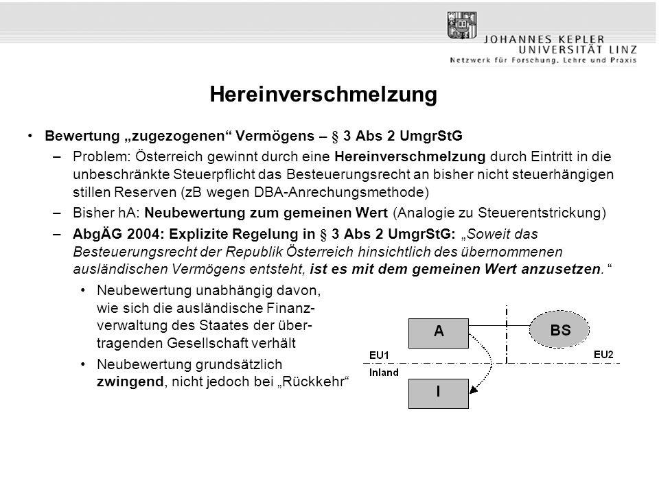 """Hereinverschmelzung Bewertung """"zugezogenen"""" Vermögens – § 3 Abs 2 UmgrStG –Problem: Österreich gewinnt durch eine Hereinverschmelzung durch Eintritt i"""